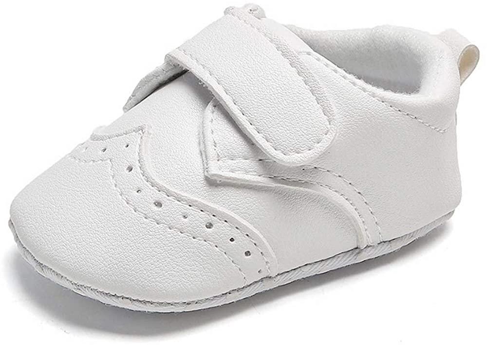 Unisex Baby Boys Girls White Sneaker Soft Anti-Slip Sole Newborn Infant First Walkers Tennis Crib Dress Shoes