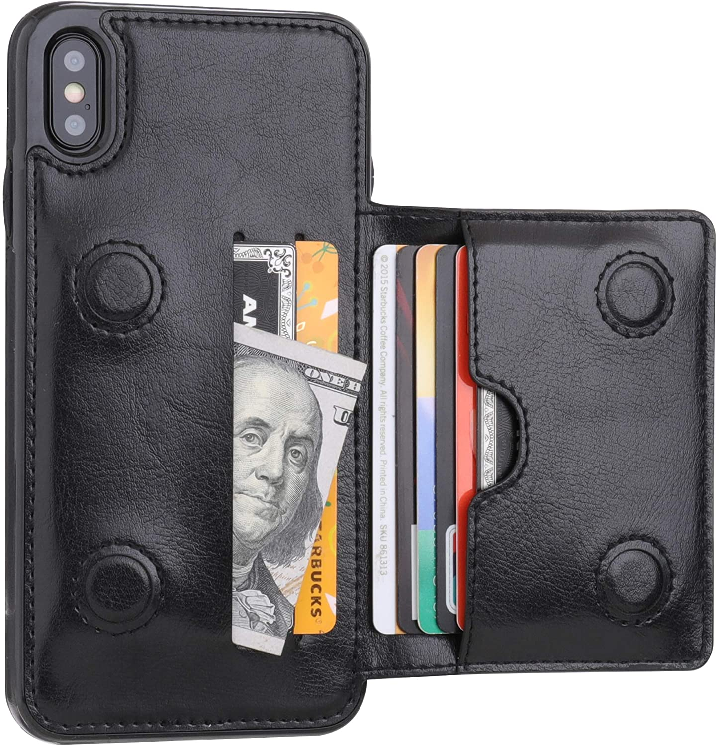 iPhone Xs Max Wallet Case with Credit Card Holder, KIHUWEY Leather Kickstand Durable Shockproof Protective Hidden Magnetic Closure Cover for iPhone Xs Max 6.5 Inch(Black)