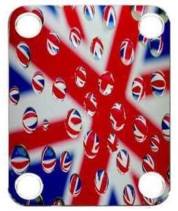 Custom Graphical Guitar Neck Plate Neckplate Flag UK Patriot Bubbles