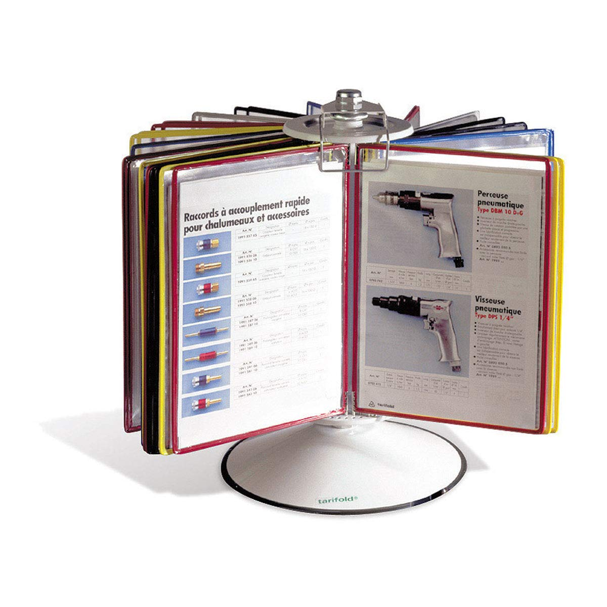Tarifold Steel Rotary Reference Display with 50 Display Pockets, Gray Base,100 Sheet Capacity (R295)