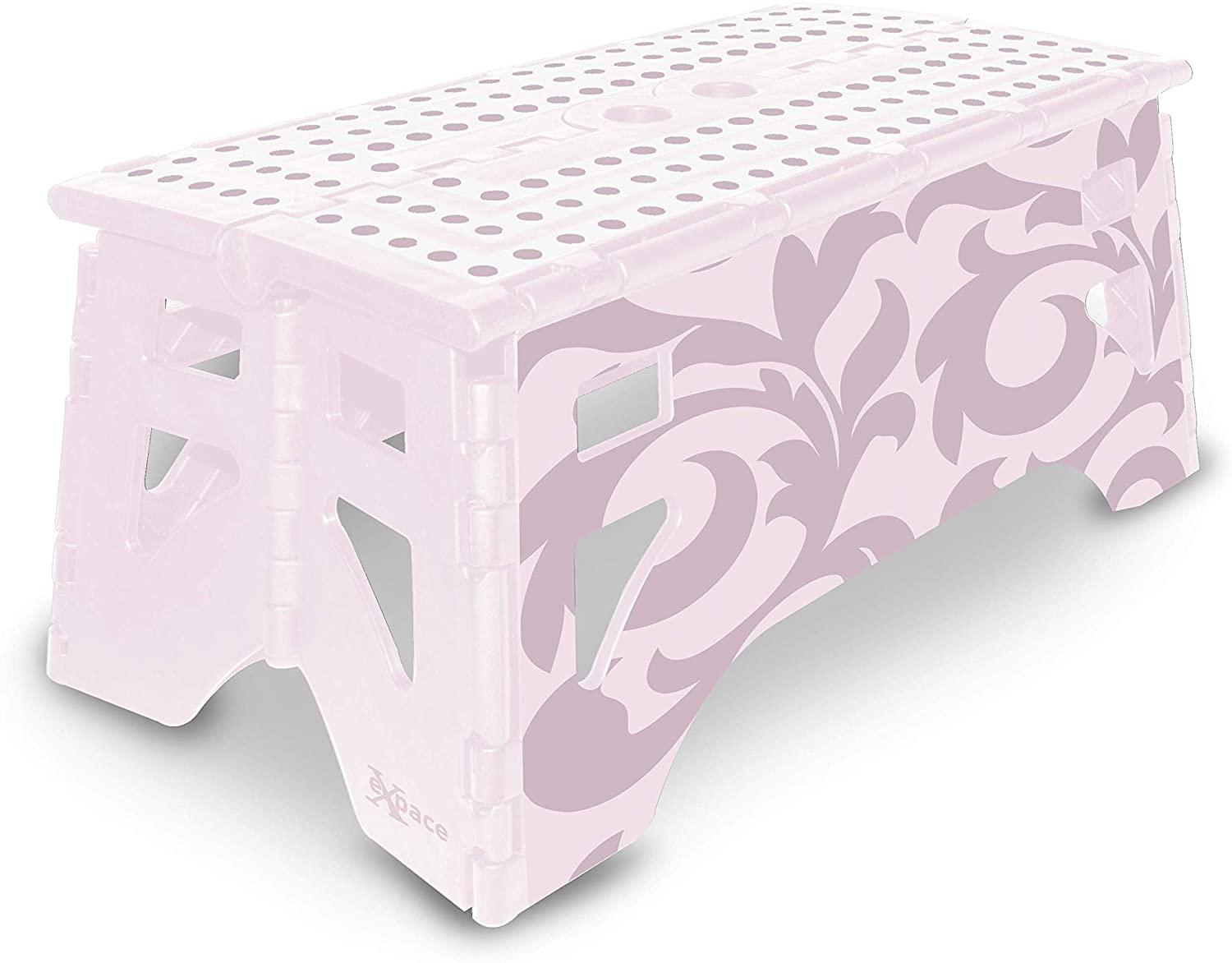 eXpace Folding Step Stool, 13-Inch Wide, Non-Slip for Indoor and Outdoor Use, Adults and Kids up to 350 lbs, Pink Floral