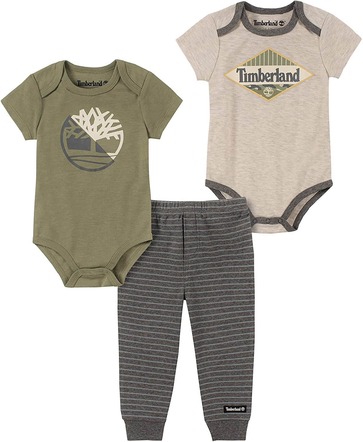 Timberland Baby Boys 3 Pieces Bodysuit Pants Set