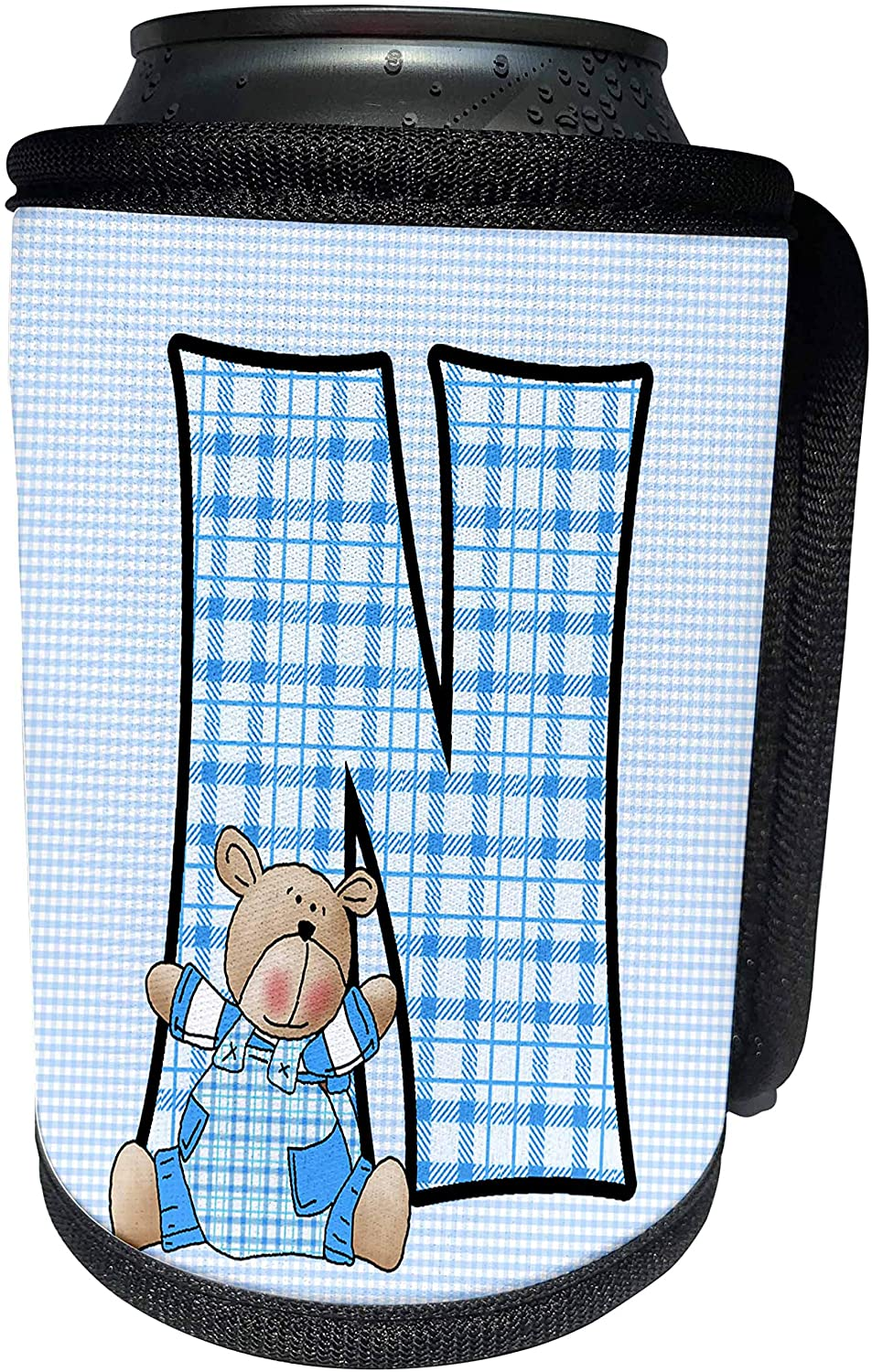 3dRose Doreen Erhardt Baby Monograms - Teddy Bear in Blue for Boys Baby and Kids Monogram N in Gingham Prints - Can Cooler Bottle Wrap (cc_62867_1)