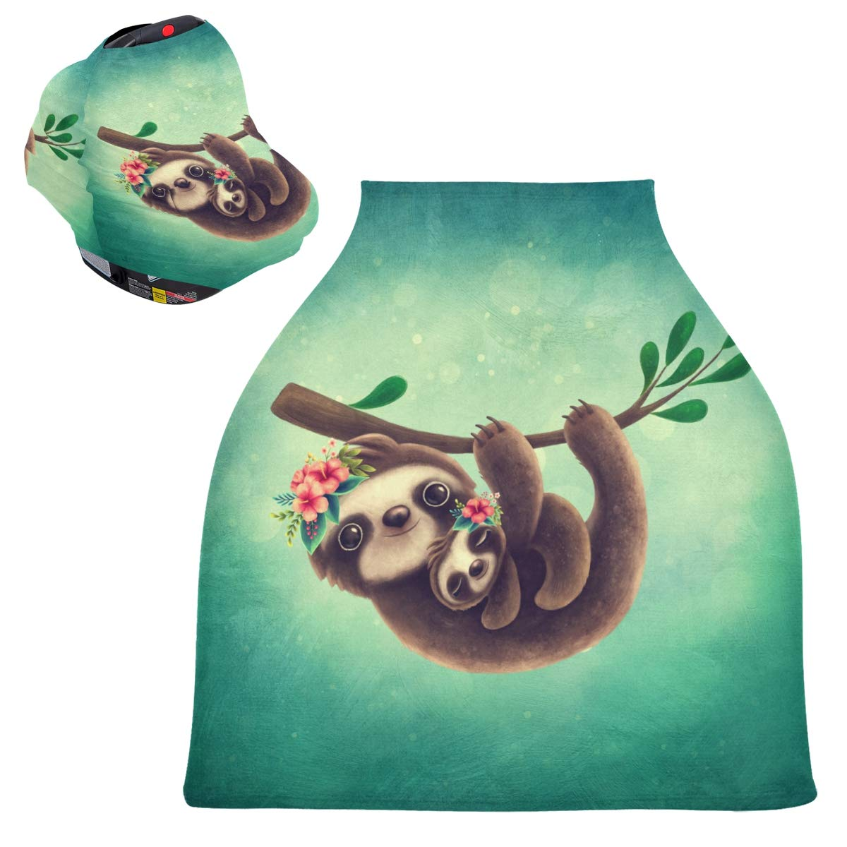 Stretchy Baby Car Seat Canopy - Sloth Mom Baby Infant Stroller Cover Multi Use Carseat Canopy Cover Nursing Cover for High Chair