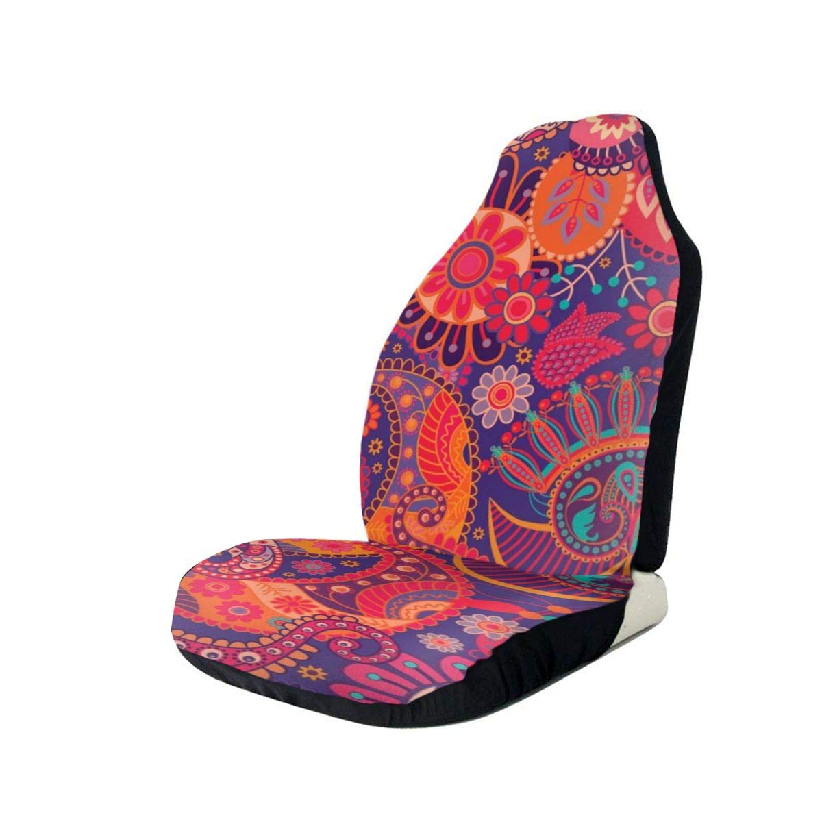 Red Purple Paisley Car Seat Protector Front Seats Cover Auto Seat Cover Pad Anti-Slip Car Accessory Universal Fit Standard Vehicles Trucks & SUVs