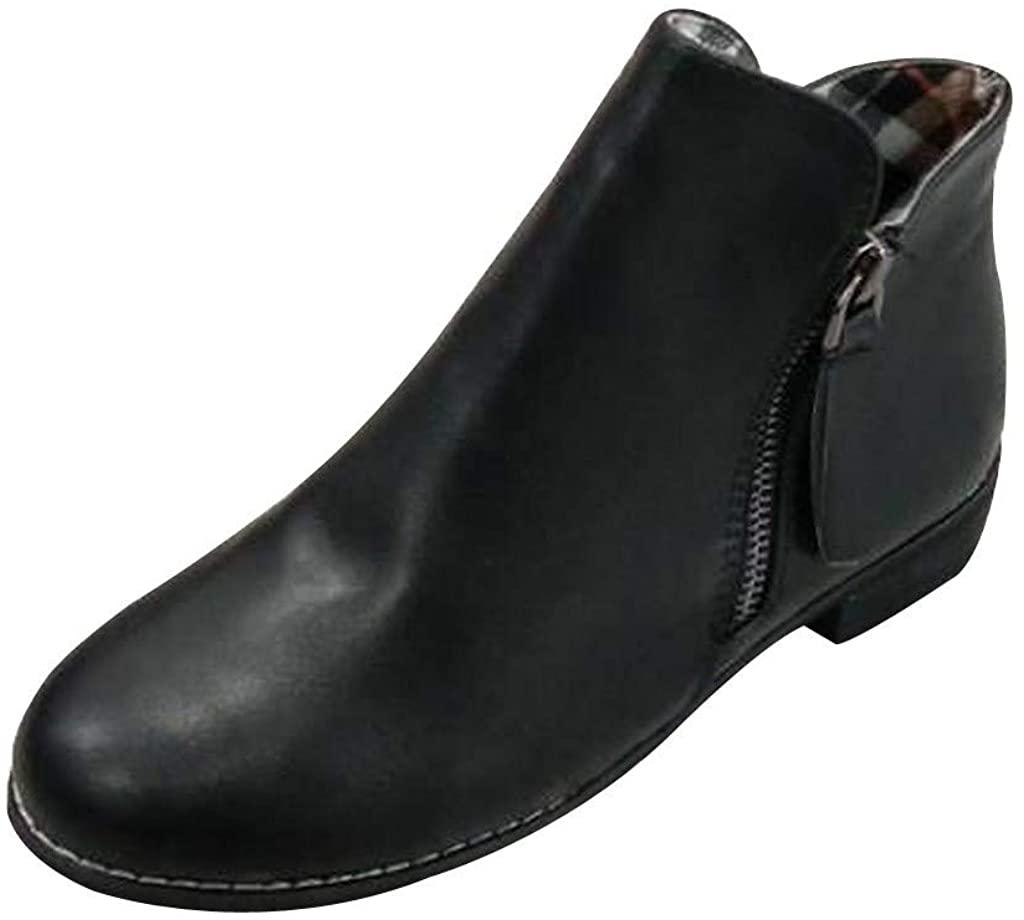 Women's Low Heel Suede Ankle Booties Wide Width Side Zipper Boots Slip On Chelsea Ankle Boot Dress Booties Shoes