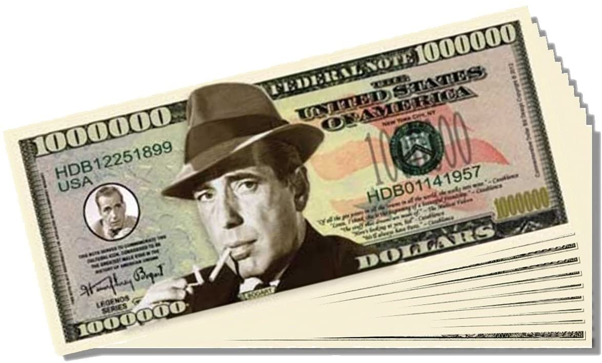 Humphery Bogart Million Dollar Bill - 10 Count with Bonus Clear Protector & Christopher Columbus Bill