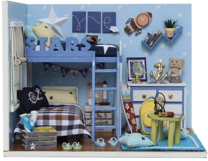 Woolves Miniature Dollhouse Kit Tools DIY Beginner Blue Star Bedroom Lighted Exquisite and Beautiful Suitable for Home Decoration, Boy and Girl Gifts fine Well-Designed Pretty Good Respectable