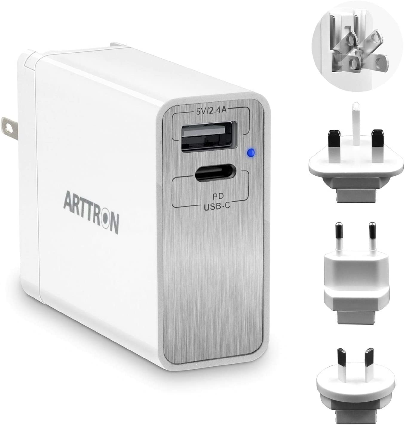 USB C PD Charger, ARTTRON 45W 2-Port USB Wall Charging Station with 45W Power Delivery Port, Compatible iPhone 11/Pro/Max, Ipad Pro 2018, MacBook, Galaxy S9 S8 and More