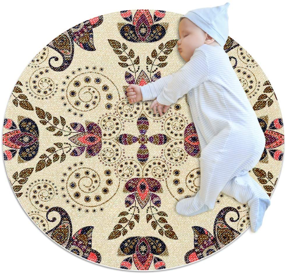 Paisley Pattern Round Area Rug Home Decorative Carpet Soft and Washable Pad Non-Slip for Kid's Toddler Infants Room 27.6x27.6IN