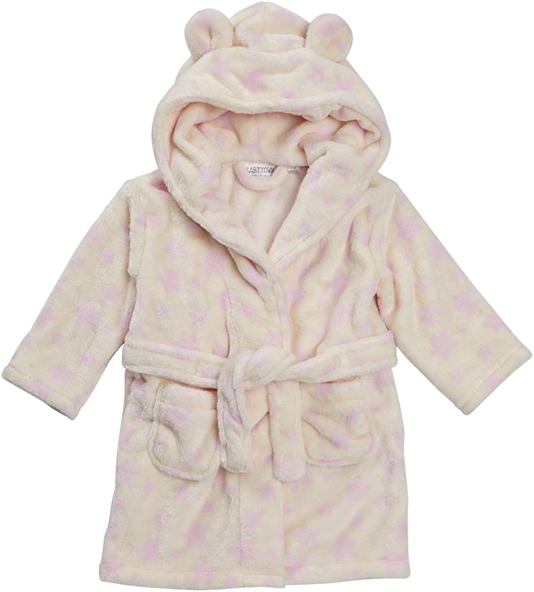 Babytown Toddler Baby Girls Star Print Night Robe (Ages 6-24 Months) Hooded Fleece Gown in Pink & Cream Beige