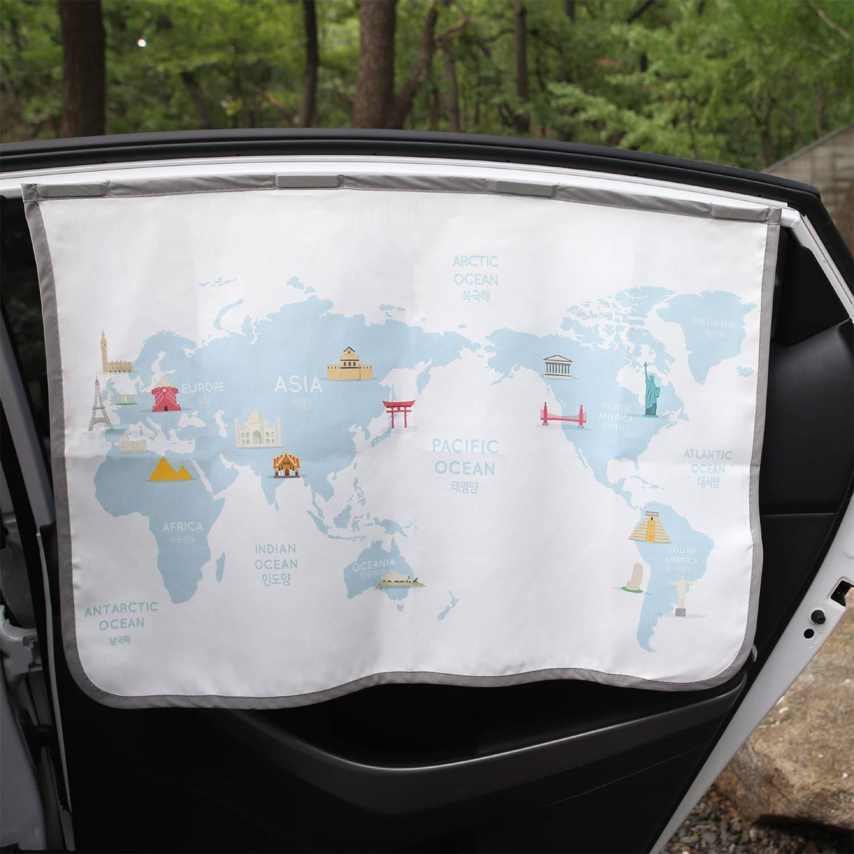 Magnetic Car Sun Shade Curtain for Side Window Baby Kids Children Sunshade Protector Protects from Sun Glare Heat Blocks UV Rays Glare Car Interior Sun Blocker Blind (Be-Travel Map)