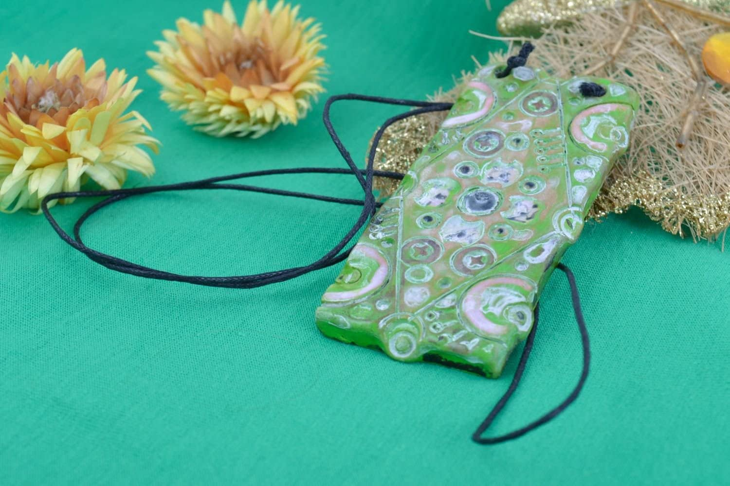 Handmade Unusual Clay Pendant Painted with Acrylics Stylish Designer Accessory