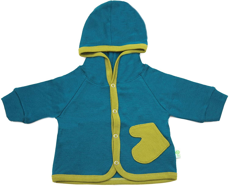 Baby Hooded Jacket, Cardigan, Sweatshirt for Boy Girl Sweater Twinset 100% Merino Wool