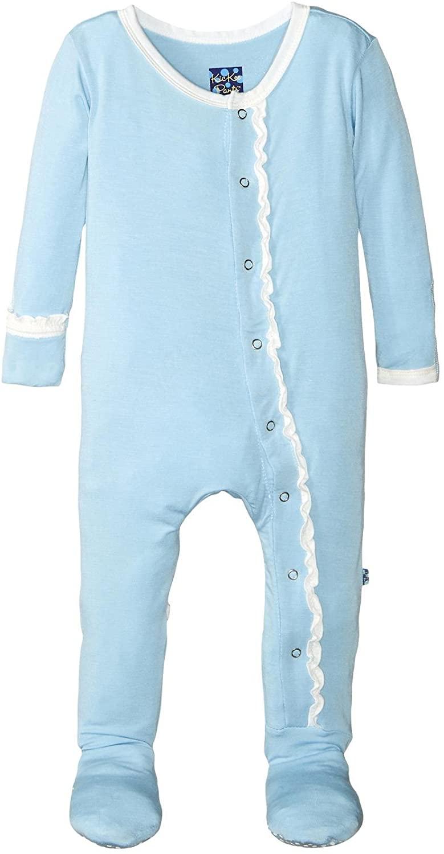 KicKee Pants Baby Girls' Solid Ruffle Footie Prd-kprf907-pnat, Pond, 18-24 Months