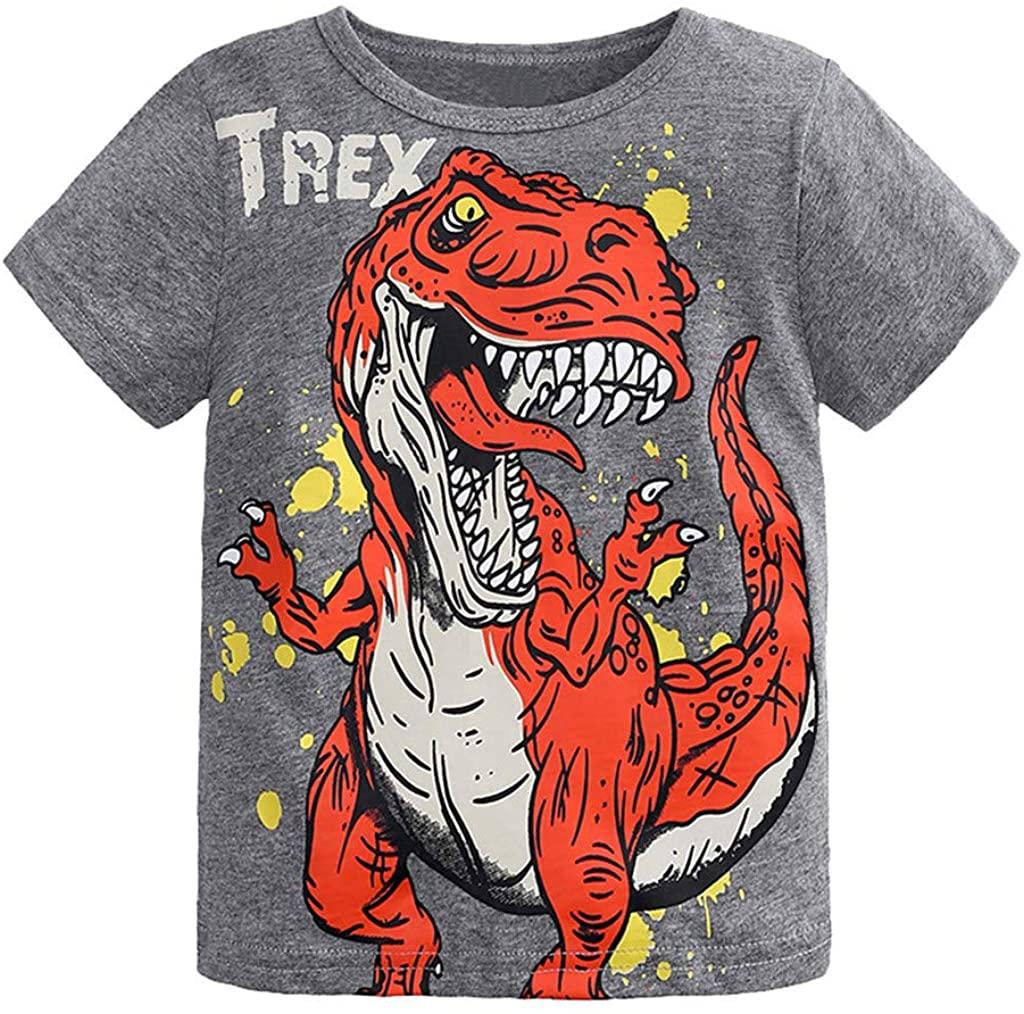 Jchen Boys Dinosaur Print Tops, Kids Baby Boys Girls Short Sleeve Cute Cartoon Dinosaur Tee Tops T-Shirt Tee for 1-6 Yrs