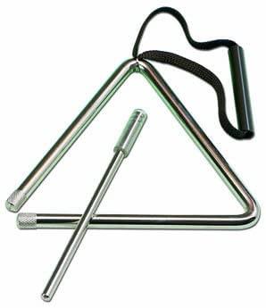 Triángulo de acero fino, 12 cm. Muy buena sonoridad. Batidor incluido