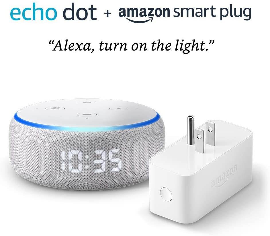 Echo Dot (3rd Gen) with Clock and DHgate Smart Plug - Sandstone