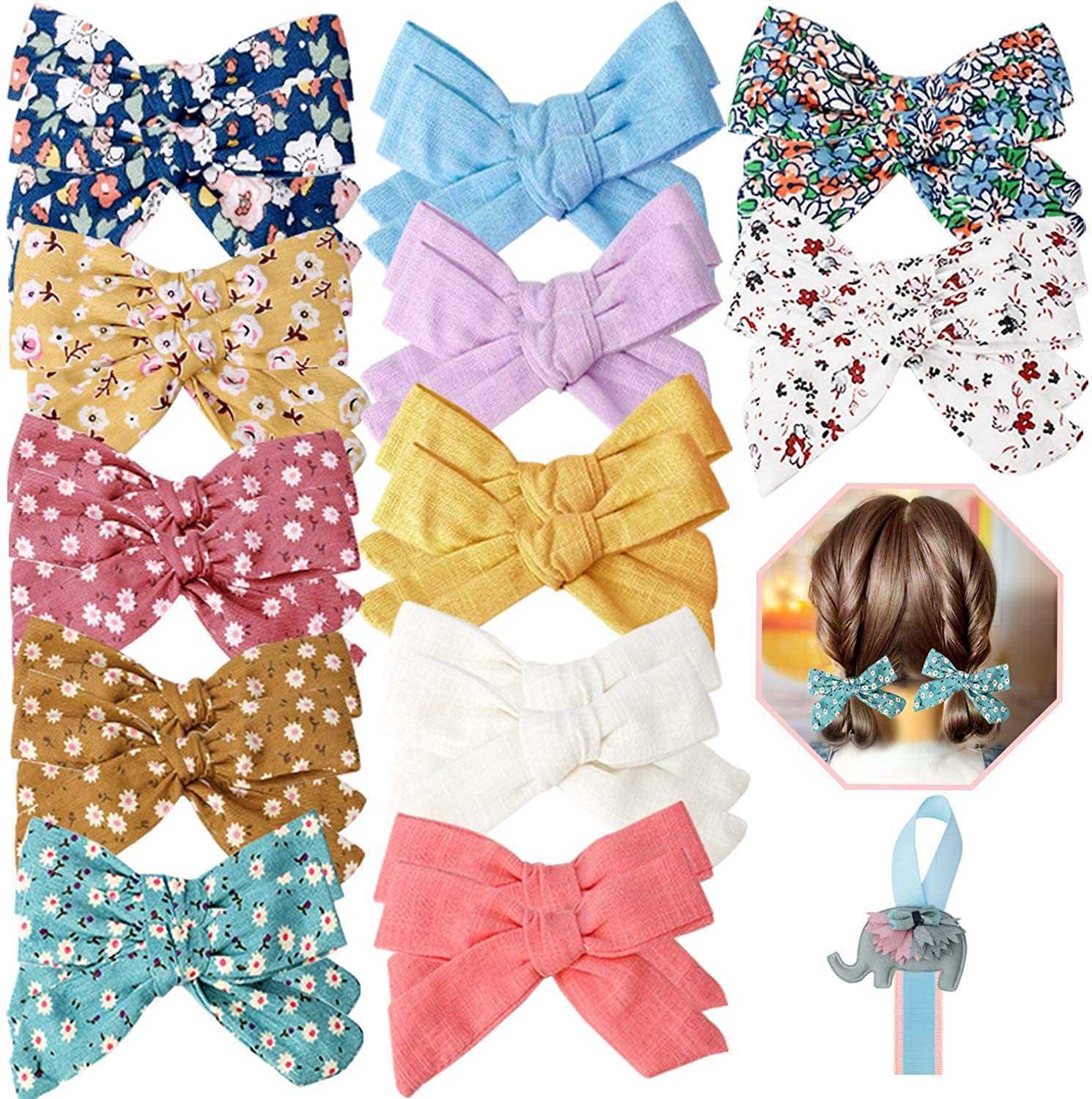 Baby Girls Hair Bows Clips 24 Pcs 3.9 inch Fully Lined Tiny Barrettes Accessories for Fine Hair Infants Toddler Kids