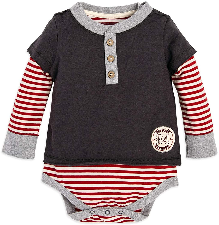 Burts Bees Baby Baby Boys, Short Long Sleeve One-Piece Bodysuits, 100% Organic Cotton