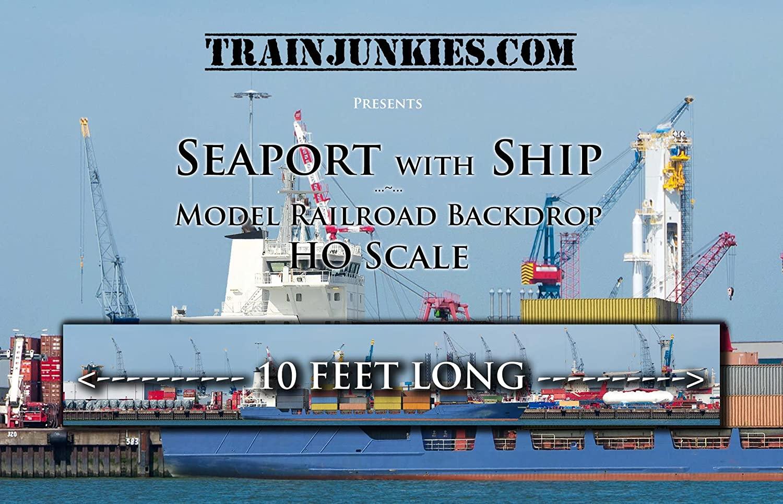 Train Junkies Seaport with Ship- Railroad Backdrop HO Scale