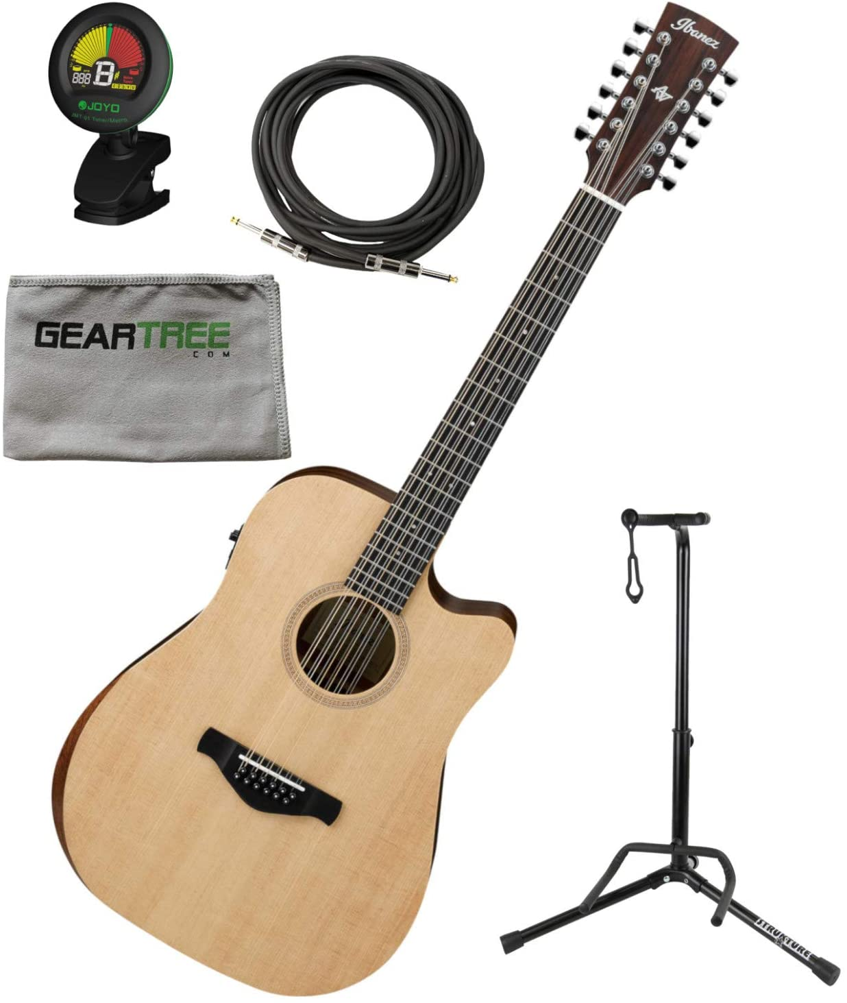 Ibanez AW152CEOPN 12 String Acoustic Electric Open Pore Guitar w/Stand, Polish