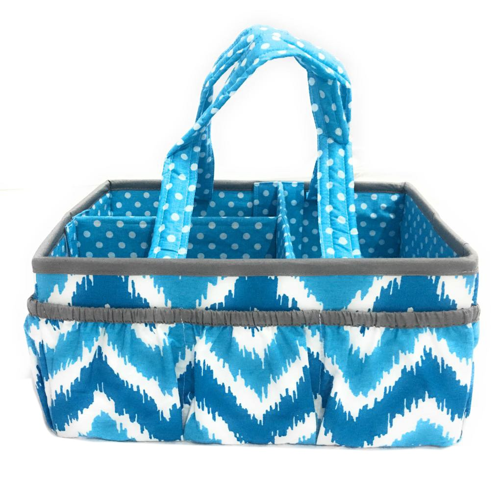 Bacati Mix and Match Nursery Fabric Storage Caddy with Handles, Turquoise