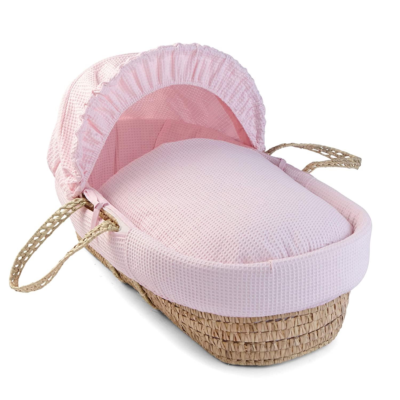 Clair De Lune Waffle Palm Moses Basket - Pink