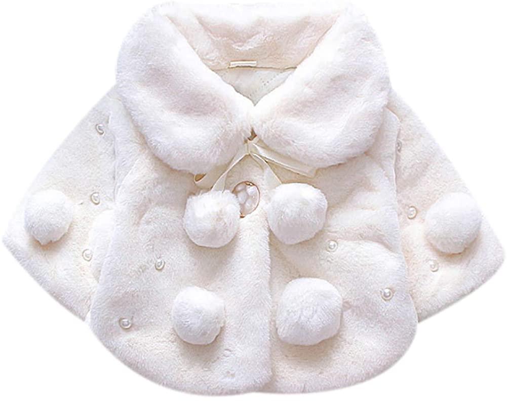 Baby Girls Faux Fur Cape Cloak Poncho Coat Autumn Winter Toddler Warm Jacket