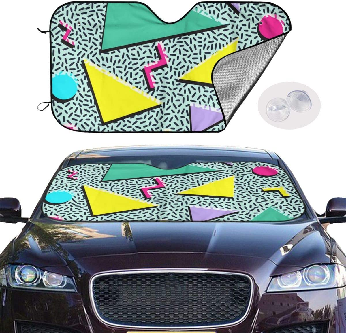 THONFIRE Car Windshield Sun Shades Fun Vintage 80S 90S Fashion Style Blocks UV Rays Keeps Your Vehicle Cool Visor Protector Trucks Front Window Heat Reflector