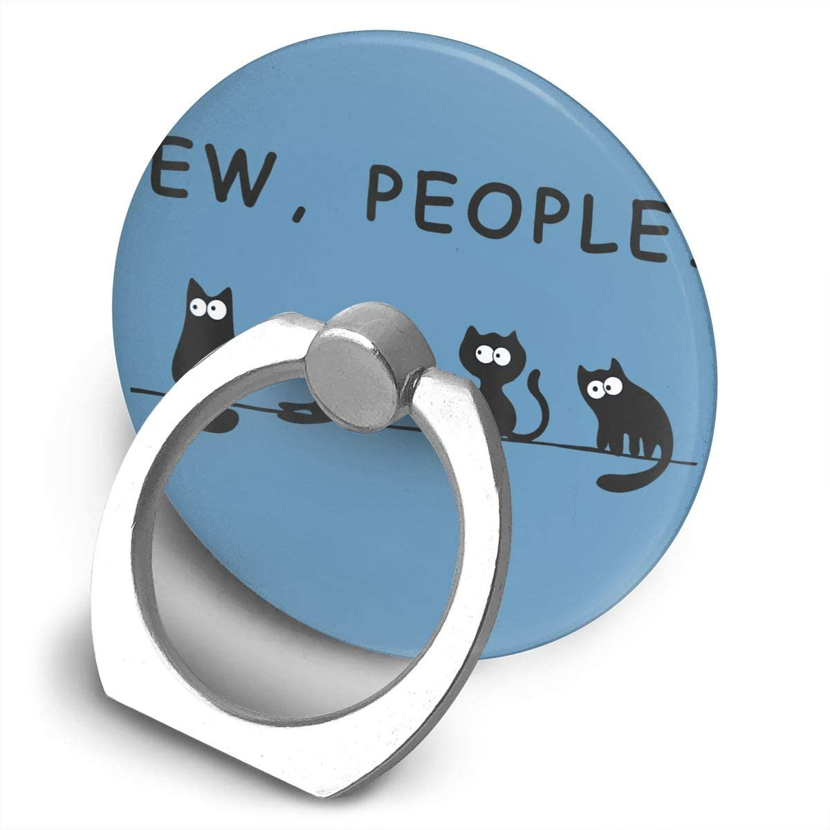 Zwinz Black Cat Funny Ew People Meowy Cat Lovers Alloy Mobile Phone Ring Bracket,360 Degree Rotating Ring Stand Grip Mounts