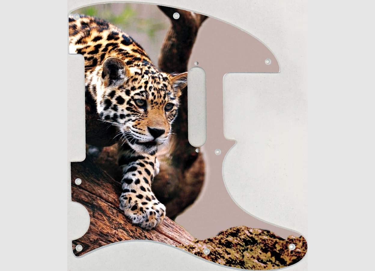 Custom Graphical Pickguard to fit Fender Tele Telecaster Leopard Descending Branch