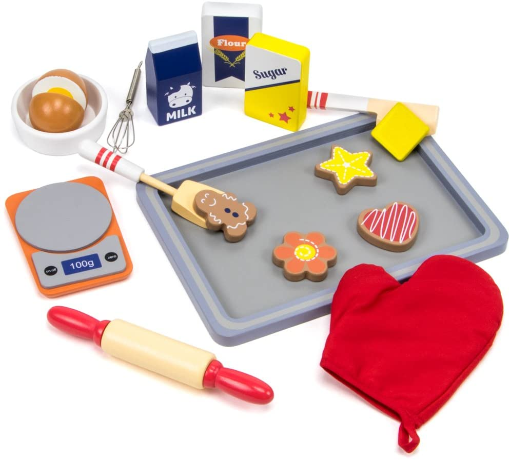 Imagination Generation Sugar Sweet Bakery Set - 17-Piece Wooden Baking Food Playset with Dry and Wet Mixing Ingredients, Scale, and Cookies