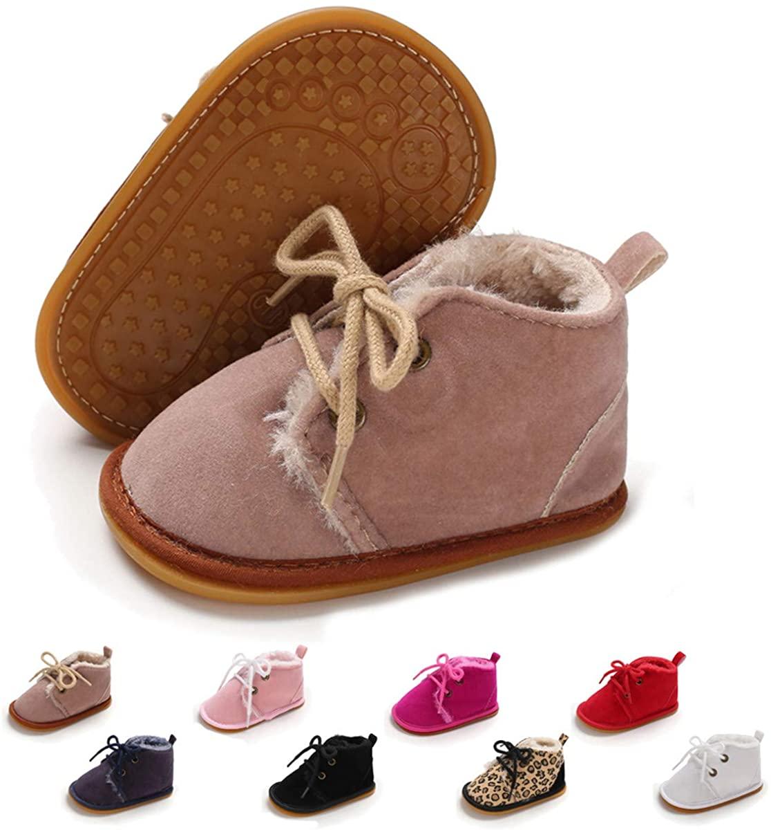 ENERCAKE Baby Booties Newborn Boy Girl Shoes Winter Warm Fur Lining Non-Slip Lace Up Prewalker Boots
