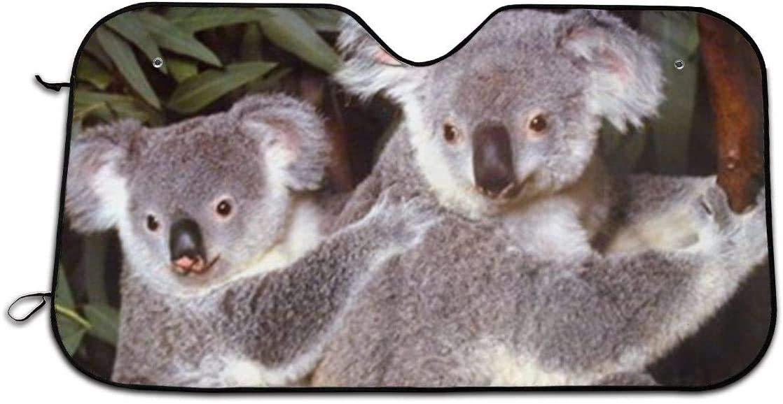Baby Koala Bear Cub with Mother Wildlife Animal Foldable Car Sun Shade for Windshield Keep Your Vehicle Cool 27.5 x 51 in