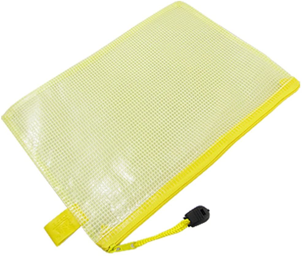 Uxcell Inner Netty Design A5 Paper Size Files Bag, Clear Yellow