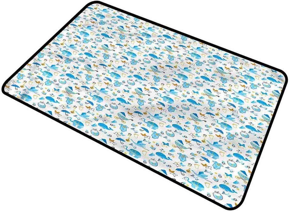 DESPKON-HOME Baby, Bath Mat Stork Carrying a Baby Low-Profile Mats Ideal for Inside Outside High Traffic Area 18x30 Inch