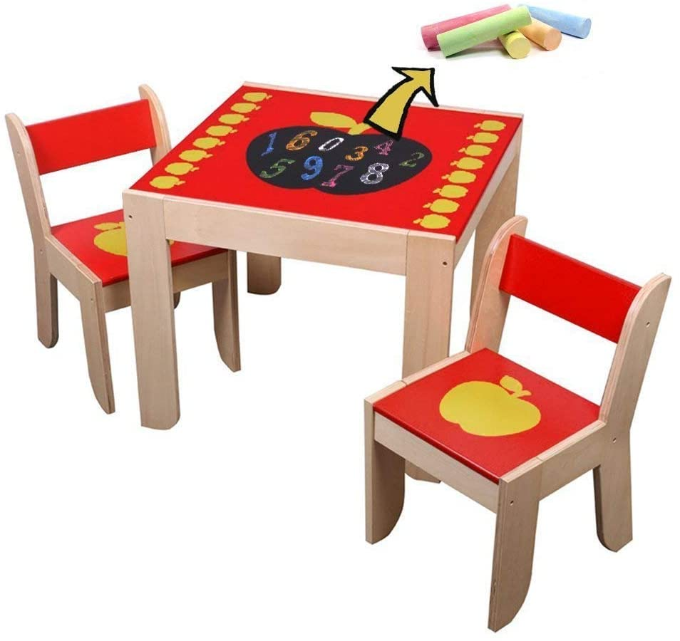 labebe Wooden Activity Table Chair, Red Apple Toddler Table with Chalkboard for 1-5 Years, Learning Activity Table/Baby Play Table Toy/Baby Table/Infant Activity Table/Kid Dining Table/Kid Desk Chair