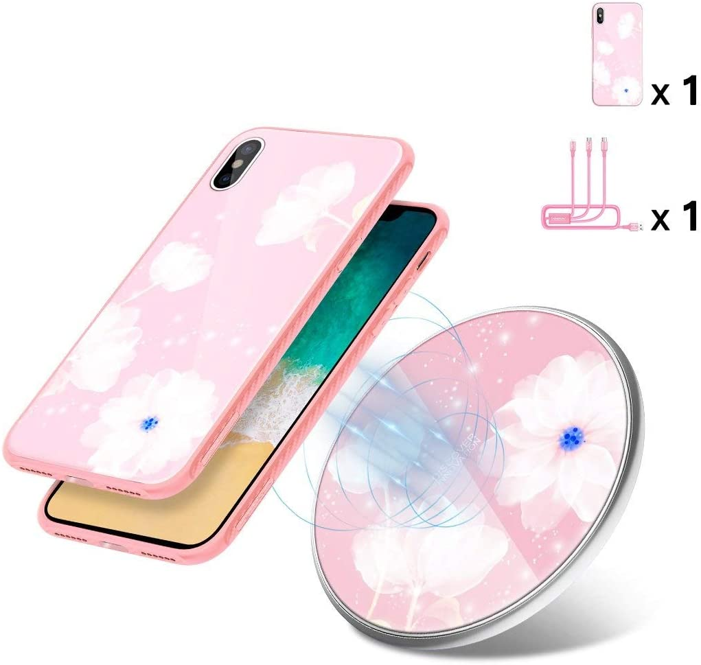 Fast Wireless Charger Kit, Nillkin [Fancy Gift Set] Qi-Certified 10W Wireless Charging Pad with 3 in 1 Charging Cable & iPhone X Tempered Glass Case for iPhone X - Pink