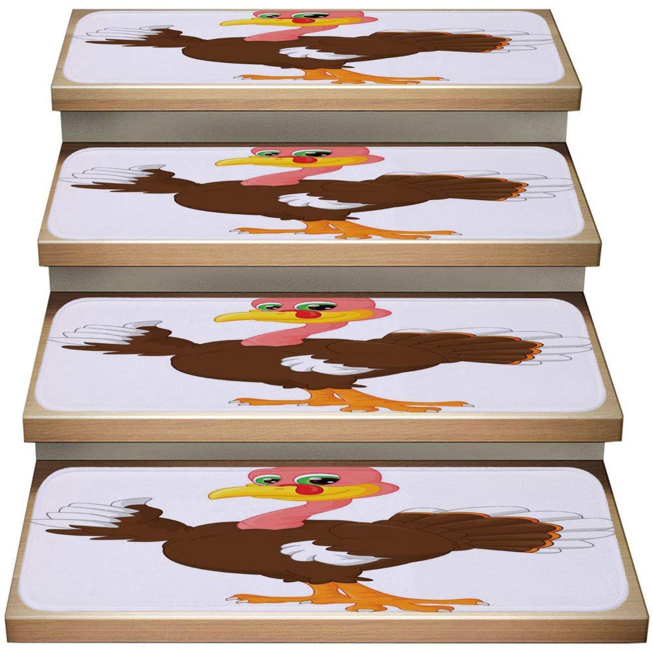 Cartoon 13-Pack Non-Slip Stair Skid Mats,Cartoon Turkey Cartoon,Soft Stair Mat Rotection Kids, Elders, and Dogs Safety