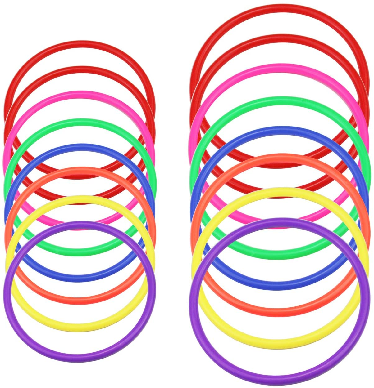 WeiMeet 16 Pieces Plastic Toss Rings Kids Gaming Toss Ring for Speed and Agility Practice Games Carnival Outdoor Games