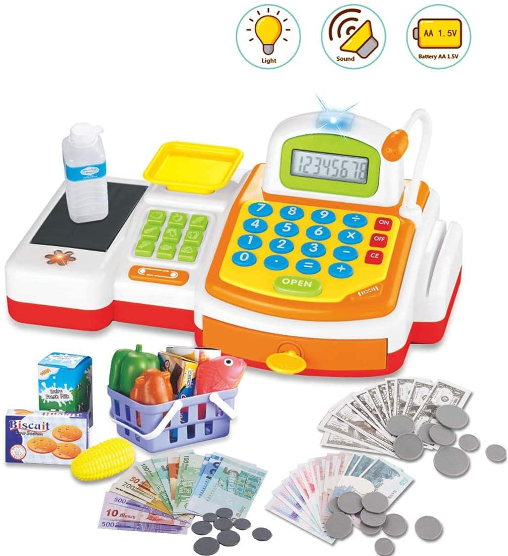 TOYSBBS Toy Cash Register Cashier Playset Battery Operated, Kids Pretend Play Set,Colorful Childrens Cash Register w/Microphone, Scanner, Calculator, Play Money & Groceries/Kids Supermarket Cashier
