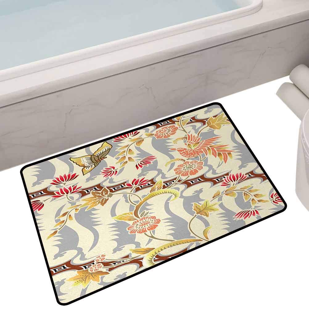 Non Slip Door Floor Mats Carpet Rugs Japanese Garden Inspired Swirling Spring Flowers Design in Soft Colors Illustration,35