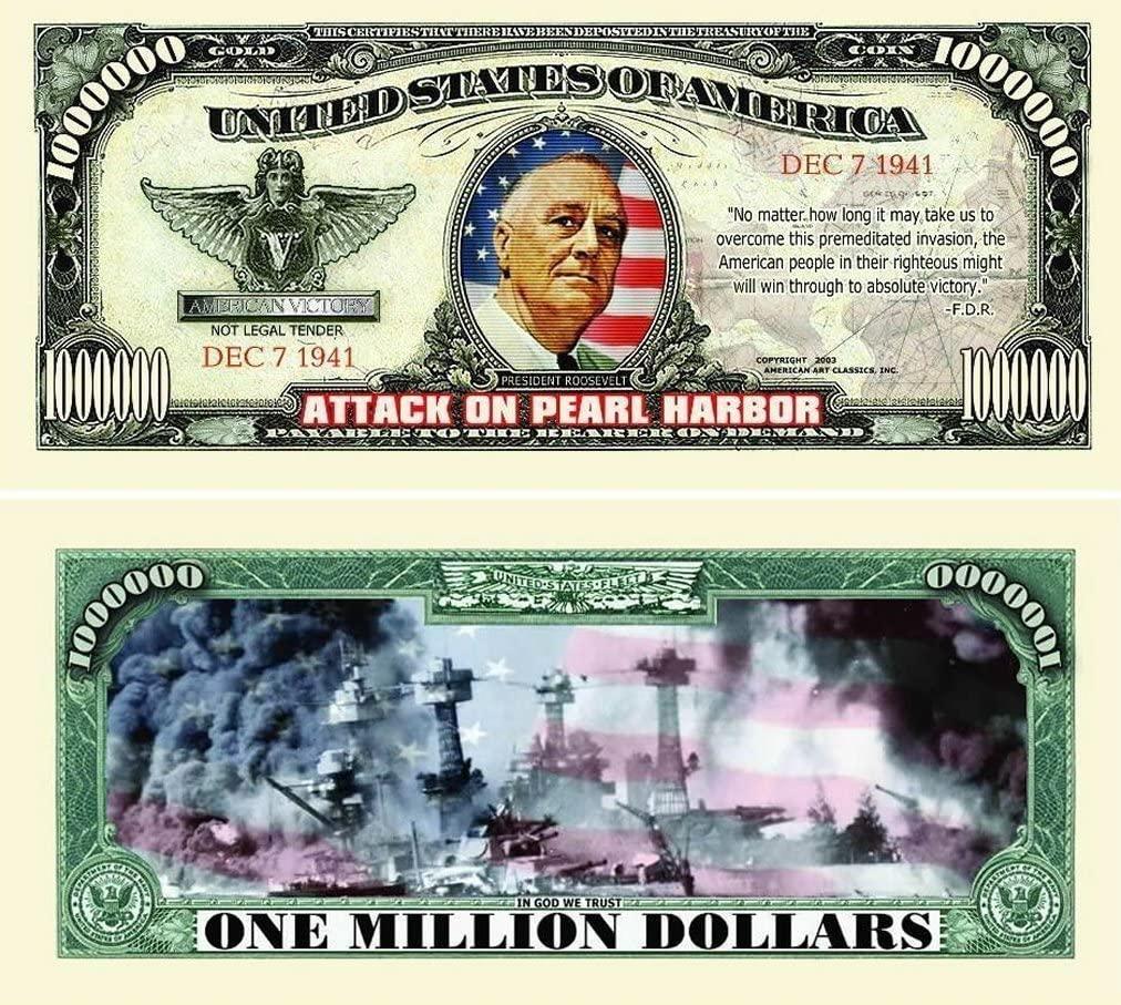"50 Pearl Harbor Million Dollar Bills with Bonus ""Thanks a Million"" Gift Card Set"