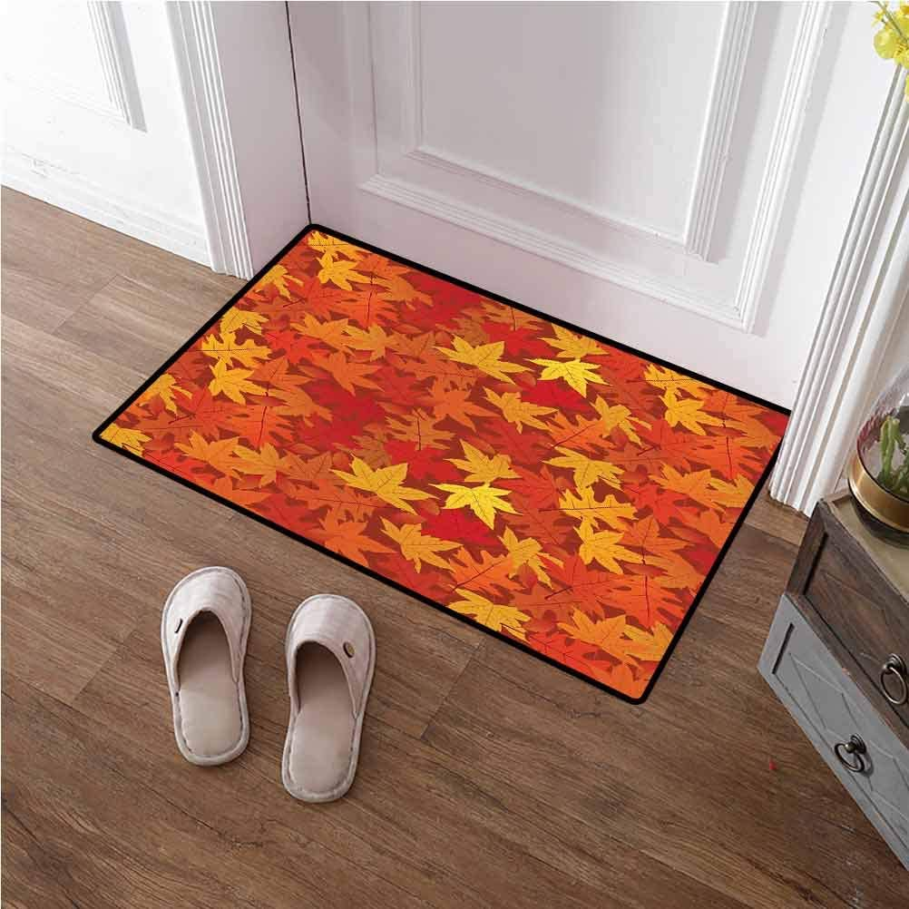 Large Door Mat Burnt Orange Non Slip Washable Quickly Multi Colored Autumn Fall Maple Leaves in Unusual Designs Nature Theme Artprint Carpets for Nursery Baby Rooms Burnt Orange 24x36 inches