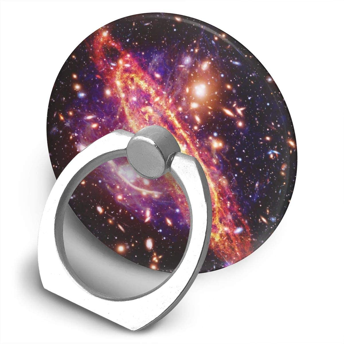 Universal Phone Ring Holder Marvellous Chaotic Space Galaxy Round Cell Phone Ring Stand Adjustable 360°Rotation Finger Kickstand Grip-Silver Mobile Phone Stand for Women Kids Men Ladies Smartphones