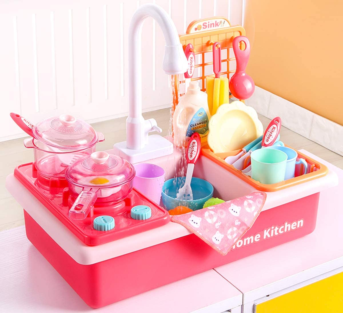 Play Kitchen Sink Toys with Automatic Faucets, Kids Kitchen Set Dishwasher with Cooking Stove, Tableware and Accessories Pretend Role Play Toys for Toddlers Boys Girls Aged 2 3 4 5 6(Pink)