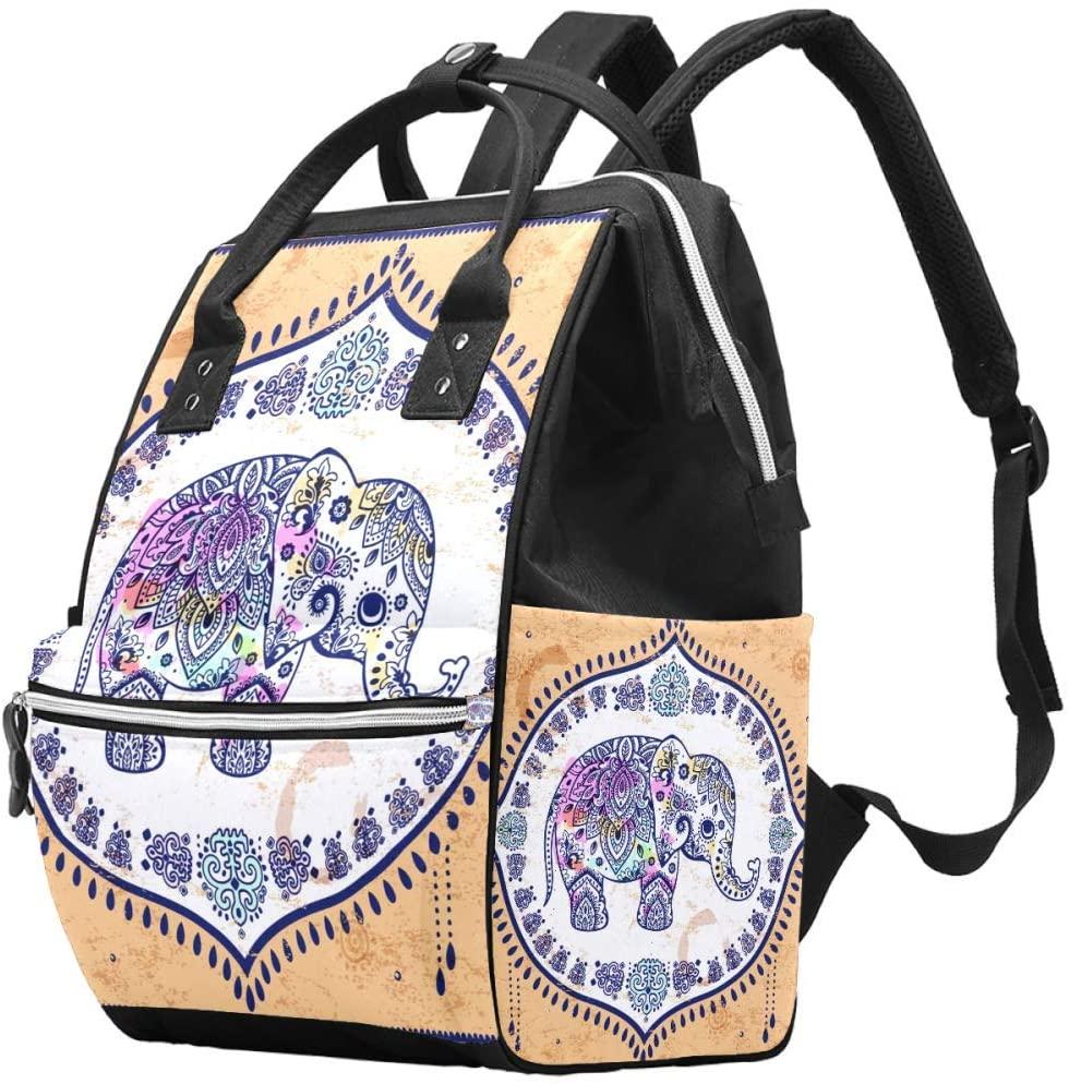 Laptop Backpack Waterproof Diaper Bag Nursing Bag Travel Nappy Tote Bags Multi-Function School Business Daypack Doctor Bag - Vintage Elephant Mandala Floral