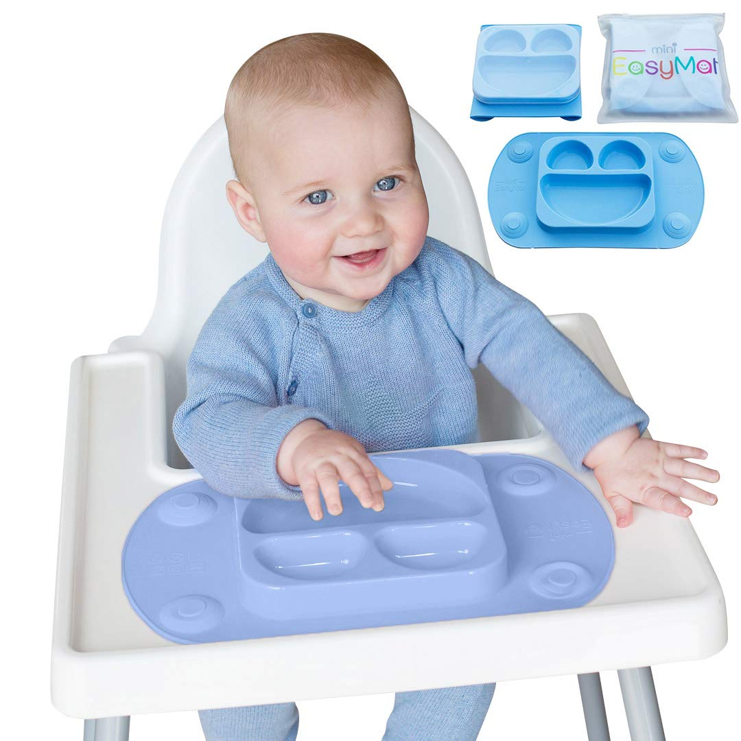 EasyMat Mini Portable Baby Suction Plate, with Lid and Carry Case for High Char Feeding and Travel (Blue)