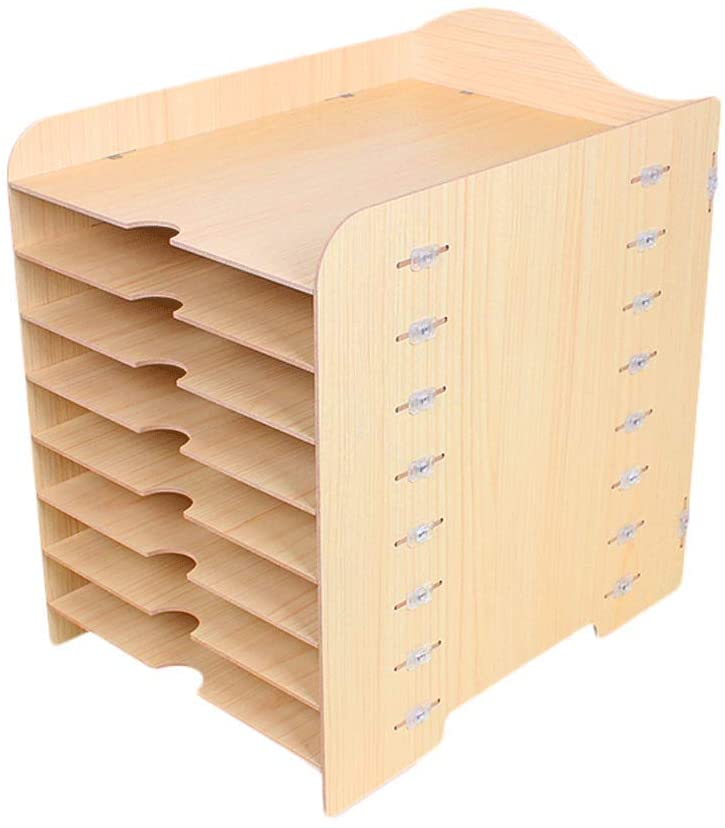 WDX- File Holder Office Wooden Desktop Storage Box Multi-Layer Data File Rack Storage (Color : A)